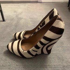 Alaia Zebra Stripe Pony Hair Platform
